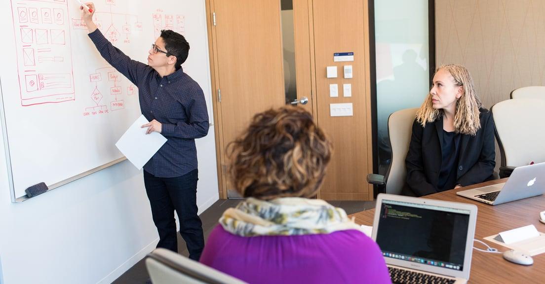 Web team writing design plan on white board